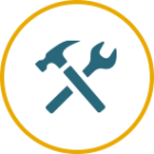 hammer and wrench repair icon