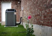 Kearney HVAC, Air conditioner with poppies, MA
