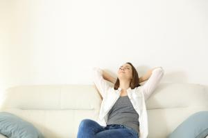 woman relaxing at home with cooling