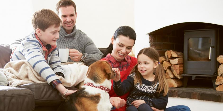 family and dog indoors